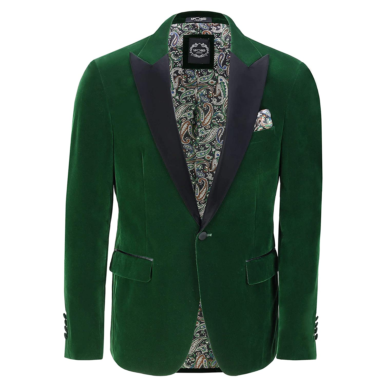 Xposed Mens Velvet Tuxedo Dinner Jacket Retro Smoking Coat Formal Tailored Fit Blazer
