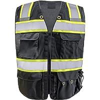 Chaleco de seguridad con rayas reflectantes de seguridad, de punto negro, con 5 bolsillos, para hombre