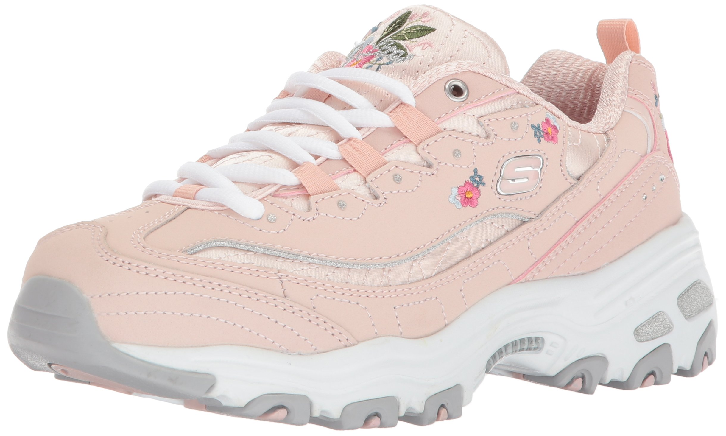 pink skechers with flowers
