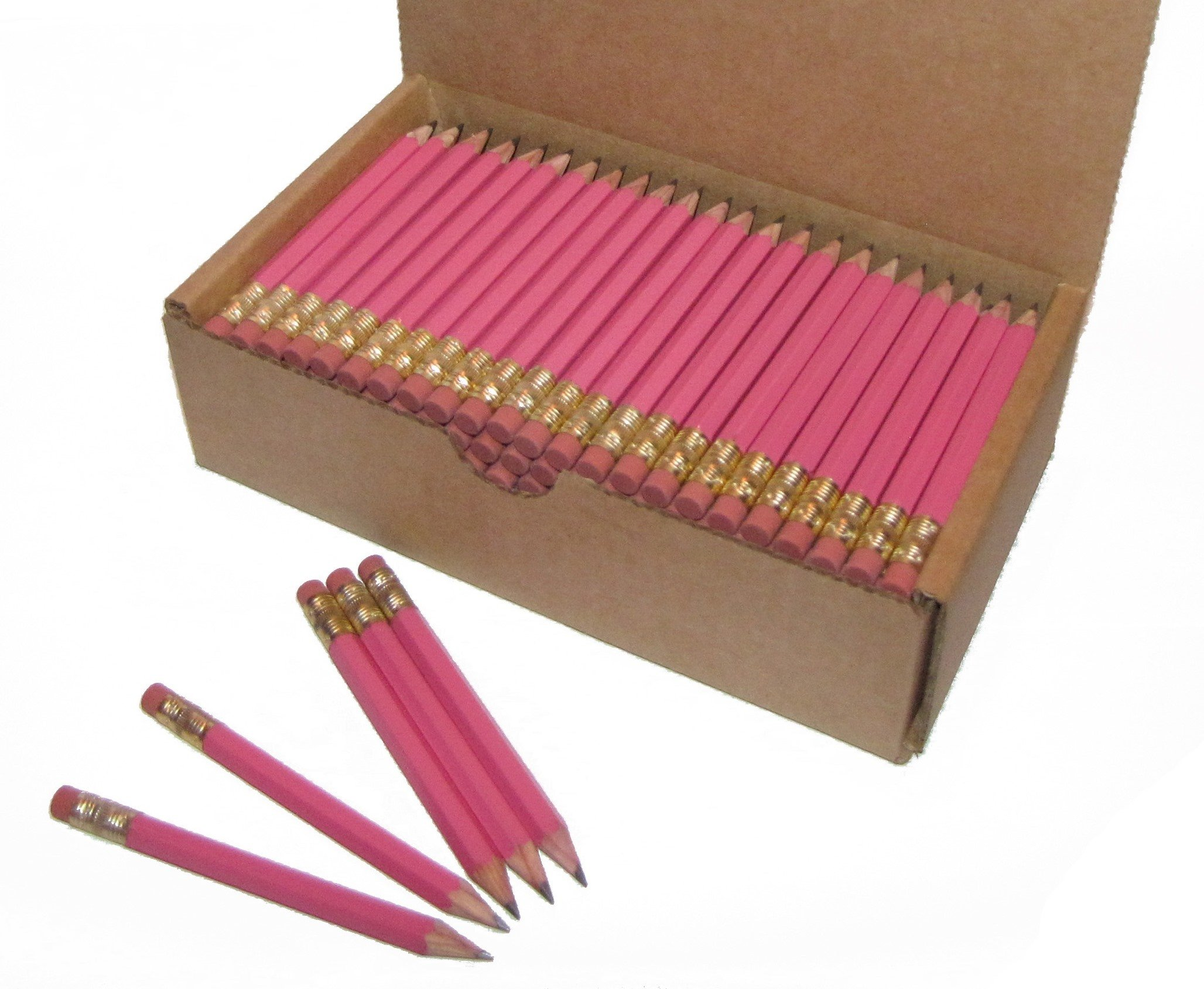 Half Pencils with Eraser, Golf, Classroom, Events, Hexagon, Sharpened, Box of 144, Color: Pink