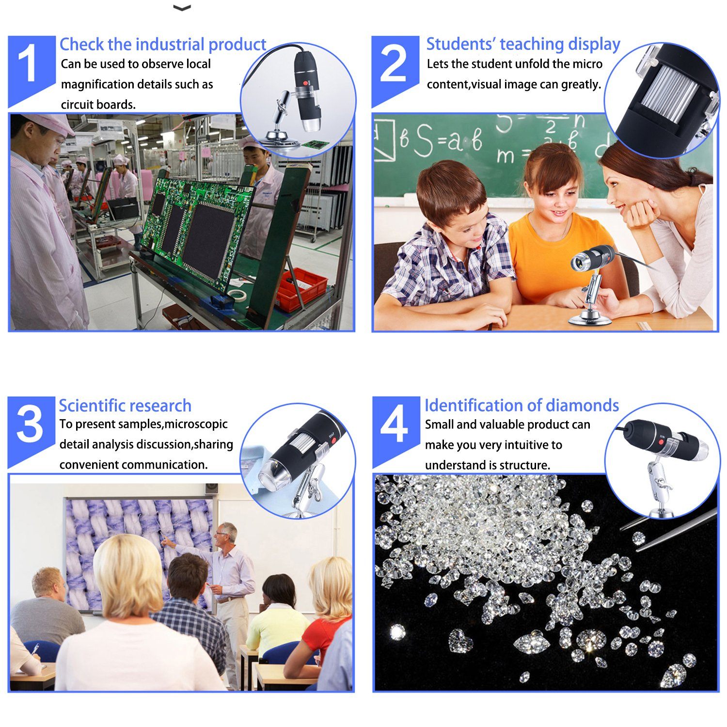 Mini Camera with Stand,Compatible with Mac Window 7 8 10 Android Linux Digital Microscope,SOSENSE 0 to 1600x Magnification Endoscope,2MP 8 LED USB 2.0/& Micro Digital Microscope