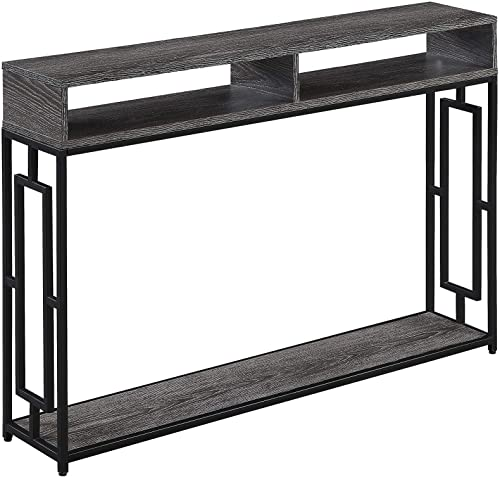 Convenience Concepts Town Square Deluxe 2-Tier Console Table, Weathered Gray Black