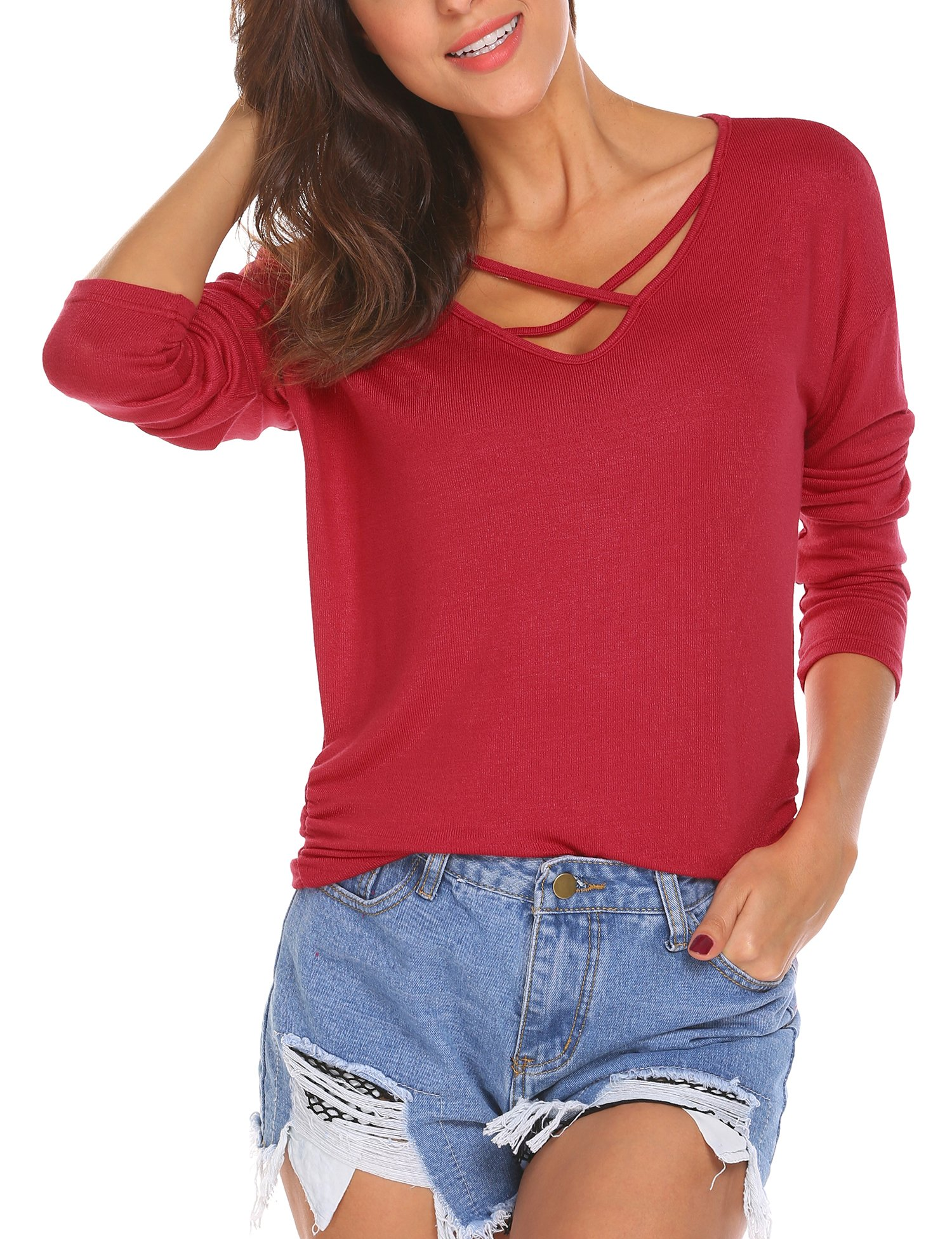 Hotouch Loose V Neck Sweater Women's Long Sleeve Knitted Pullover Casual Tops Jumper Knitwear Red M
