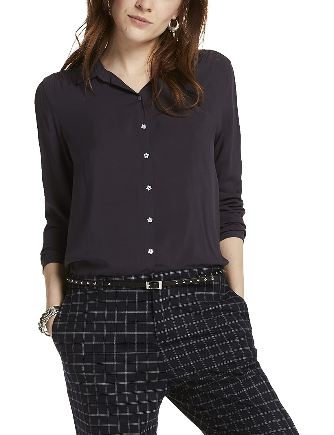 Maison Scotch Damen Hemd Soft Viscose Shirt with Star Buttons
