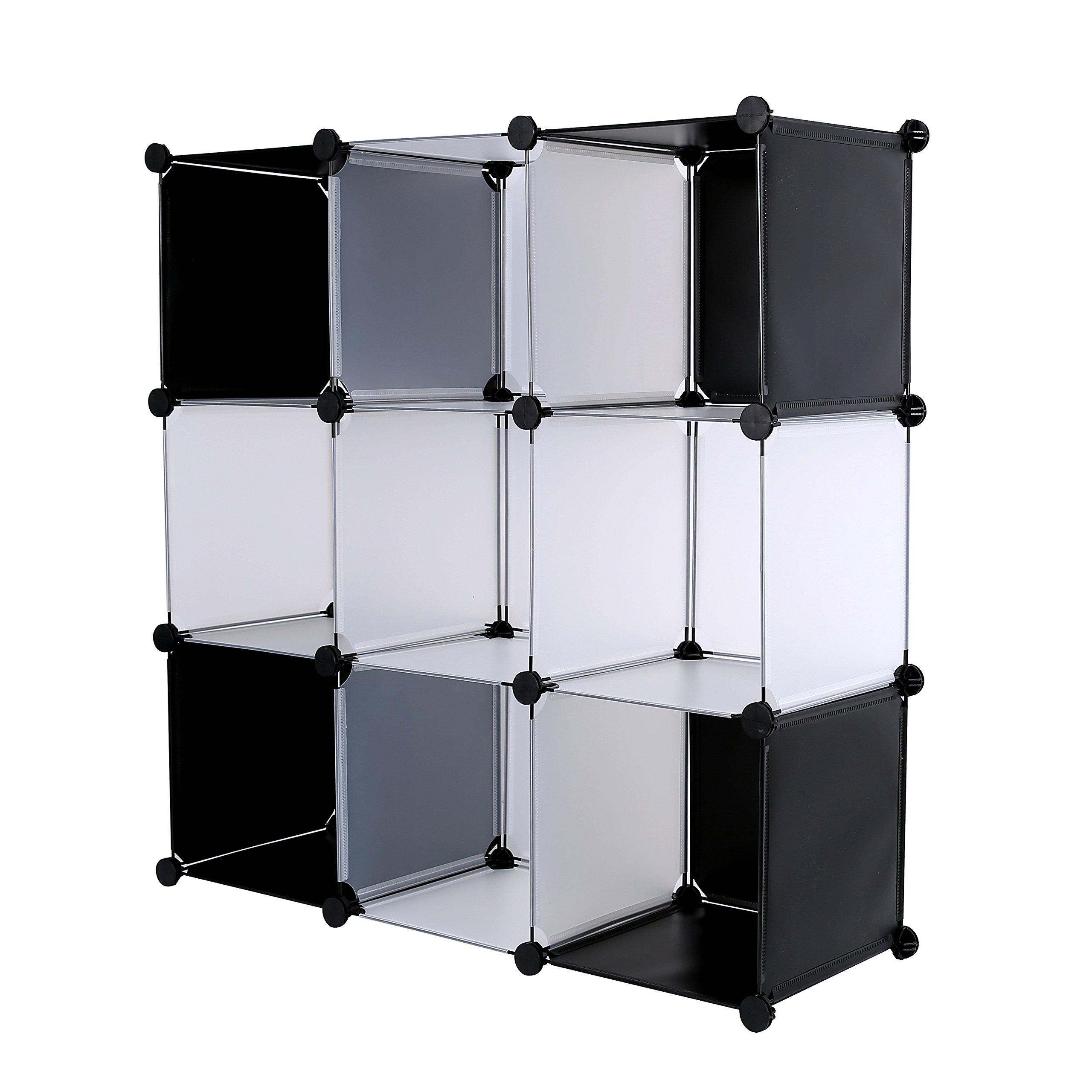 CAHOME DIY 9 Cube Bookcase Media Storage Organizer Shelf ...