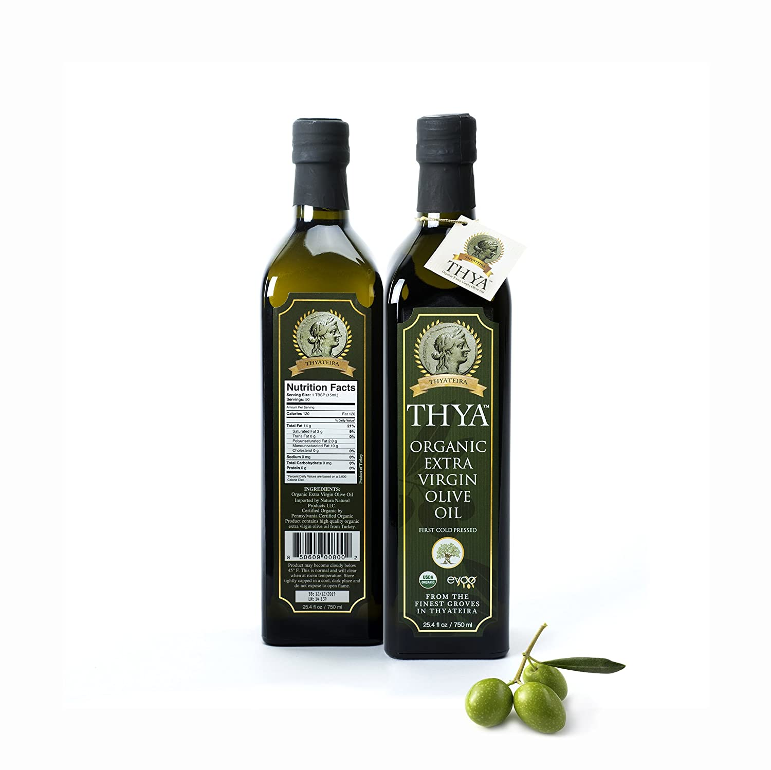 USDA Organic Extra Virgin Olive Oil by THYA, First Cold Pressed, Single  Source, Unblended, Natural,