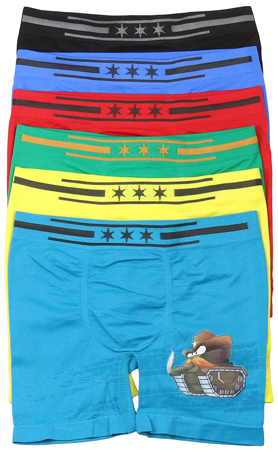 ToBeInStyle Boys 6 Pack Graphic Decal Print Seamless Long Leg Boxer Briefs