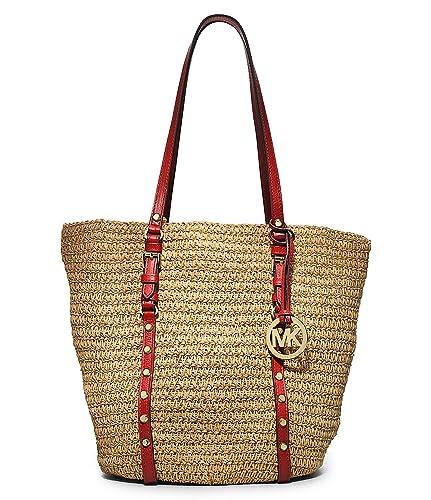 1f3a61946a481 Michael Kors Womens Large Studded Straw Shopper Natural Mandarin  Handbags   Amazon.com