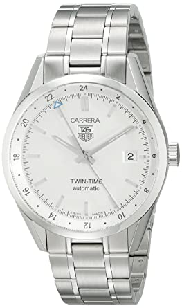 6b3182f62446 Image Unavailable. Image not available for. Color  TAG Heuer Men s  WV2116.BA0787 Carrera Calibre 7 Twin Time Automatic White Dial Steel  Bracelet