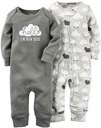 Carter's Unisex Baby 2 Pk 126g270, Grey, Newborn