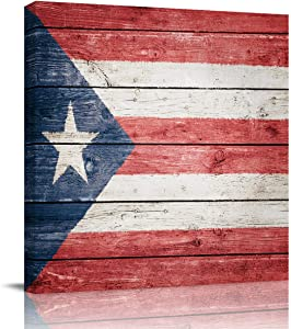 Canvas Print Wall Art Puerto Rico Flag Stretched and Framed Modern Giclee Artwork for Office/Livingroom/Bedroom/Hallway 12x12in