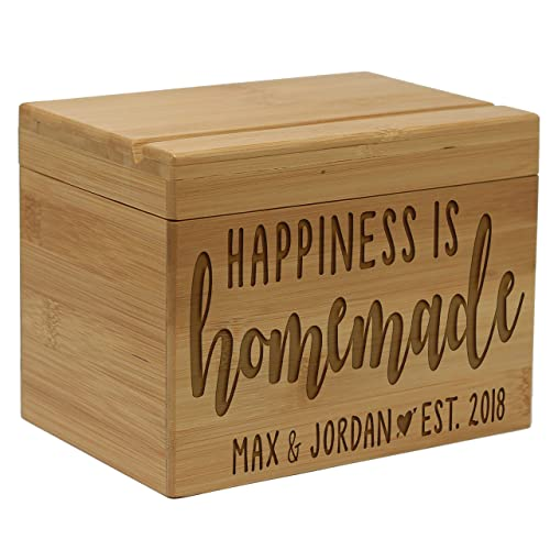 amazon com happiness is homemade personalized recipe box with names