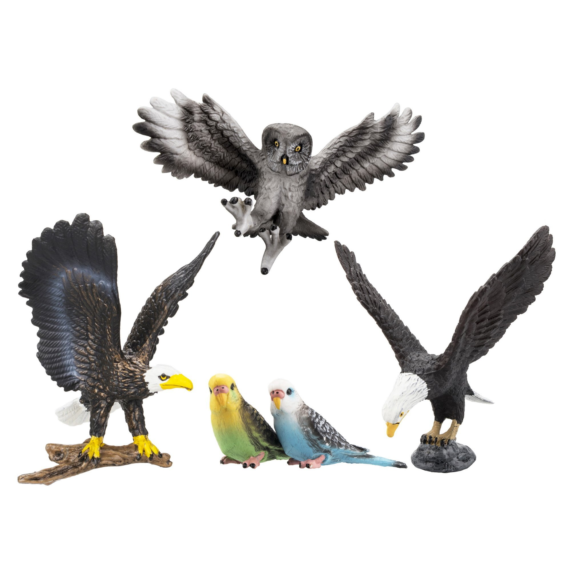 Toymany 5PCS High Realistic Bird Figurines, Birds Animal Figures Toy Set Includes Eagles Owl, Educational Gift Set For Boys Girls Kids Toddlers