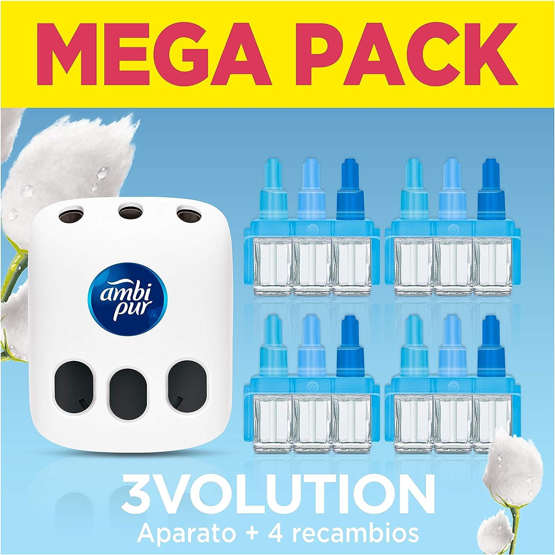 Ambi Pur 3Volution Mega Starter Pack Nubes de Algodón Ambientador Eléctrico, 4 Recambio con 3 Fragancias Que Se Alternan Para Eliminar Olores - 21 ml