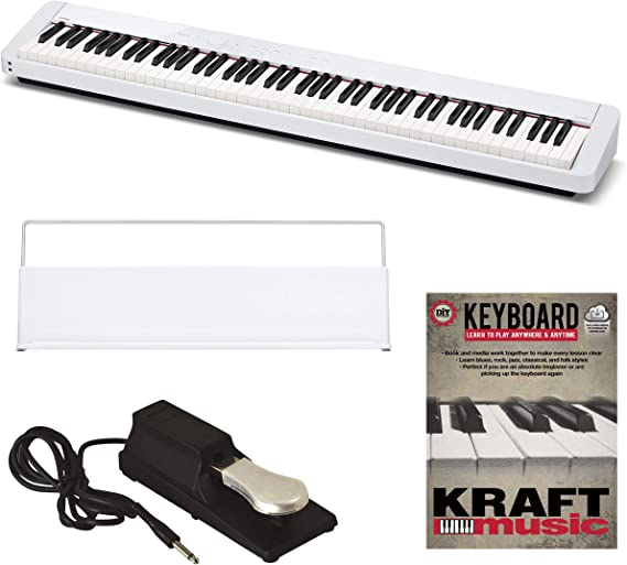 Casio Privia PX-S1000 Digital Piano - White with Pedal and Lesson Book