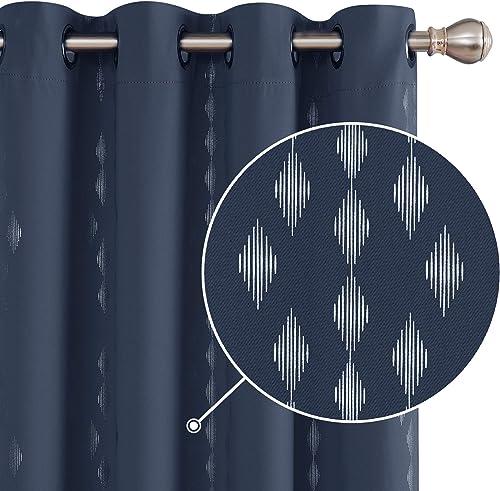 Best window curtain panel: Deconovo Foil Printed Rhombus Design Curtain Panels Grommet Sound Proof Blackout Curtain Heat Blocking Drapes 52×84 Inch Navy Blue 2 Panels