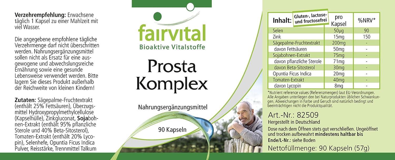 complejo de próstata - GRANEL durante 3 meses - VEGAN - ALTA DOSIS - 90 cápsulas - con el selenio, zinc, la palma enana americana, el licopeno, ...