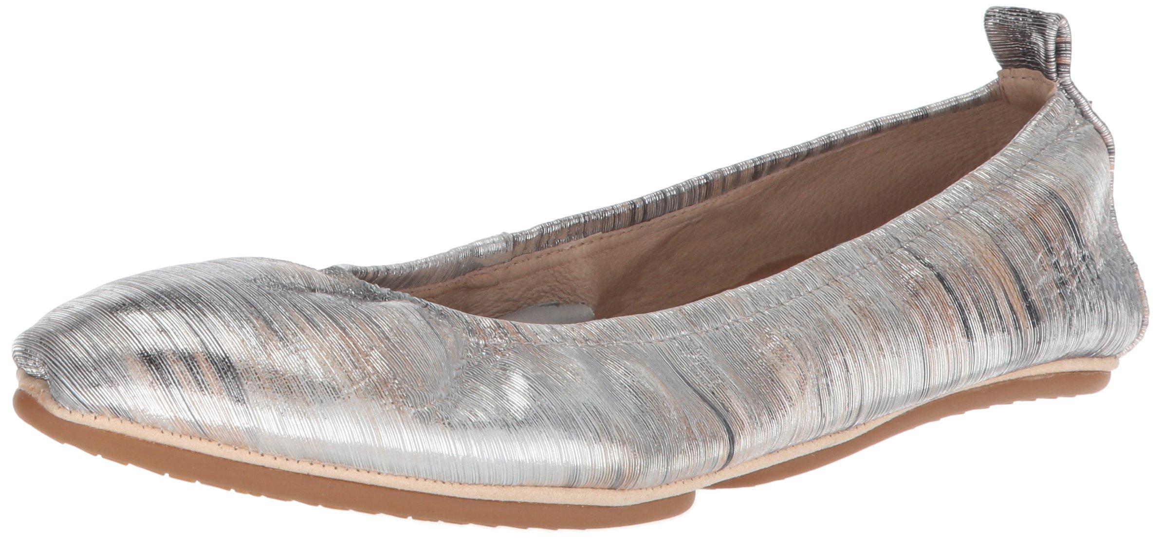 Yosi Samra Women's Vince Ballet Flat, Silver/Metallic Noise Leather, 11 Medium US