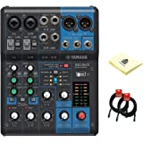 Yamaha MG06X Analog 6 Channel Mixer with 2 Microphone Preamps, 4 Dedicated Stereo Line Channels, EQ and Digital Effects Bundle with 2 Mixer Cloth and Zorro Sounds Mixer Cloth (Yamaha Mixer Bundle)