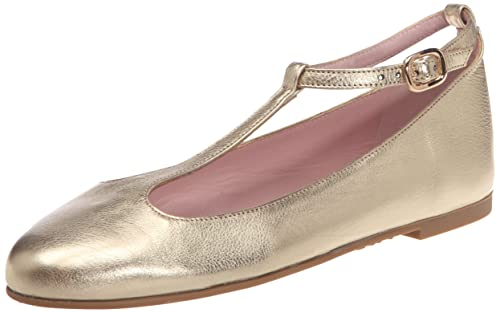 Pretty Mujer 40621 Cuero Bailarinas De Ballerinas Para bella Oro W9bDeEIYH2