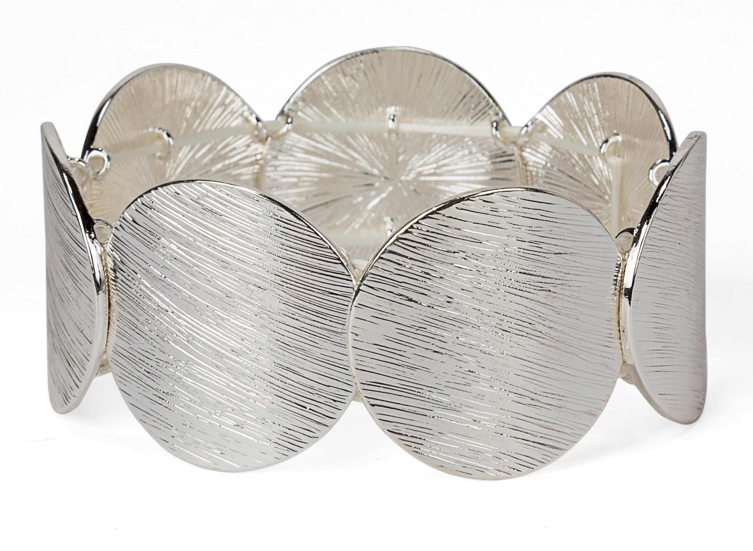 SPUNKYsoul New! Disc Stretch Bracelet in Gold, Silver and Rose Gold for Women Collection (Large Silver)