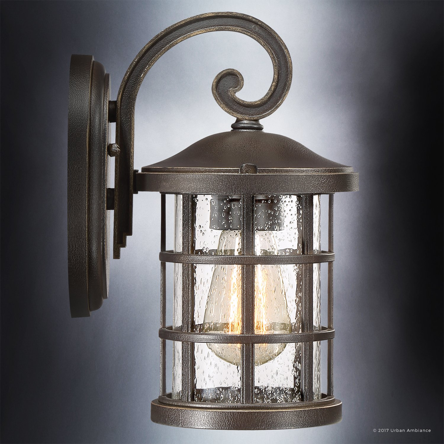 Luxury Craftsman Outdoor Wall Light, Small Size: 11'' H x 6'' W, with Tudor Style Elements, Wrought Iron Design, Oil Rubbed Parisian Bronze Finish and Seeded Glass, UQL1041 by Urban Ambiance by Urban Ambiance (Image #4)