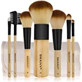 SHANY Bamboo Brush Set with Premium Synthetic Hair, Handles and Cotton Pouch