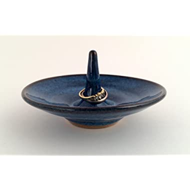 Handmade Pottery Ring Holder for Jewelry in Blue