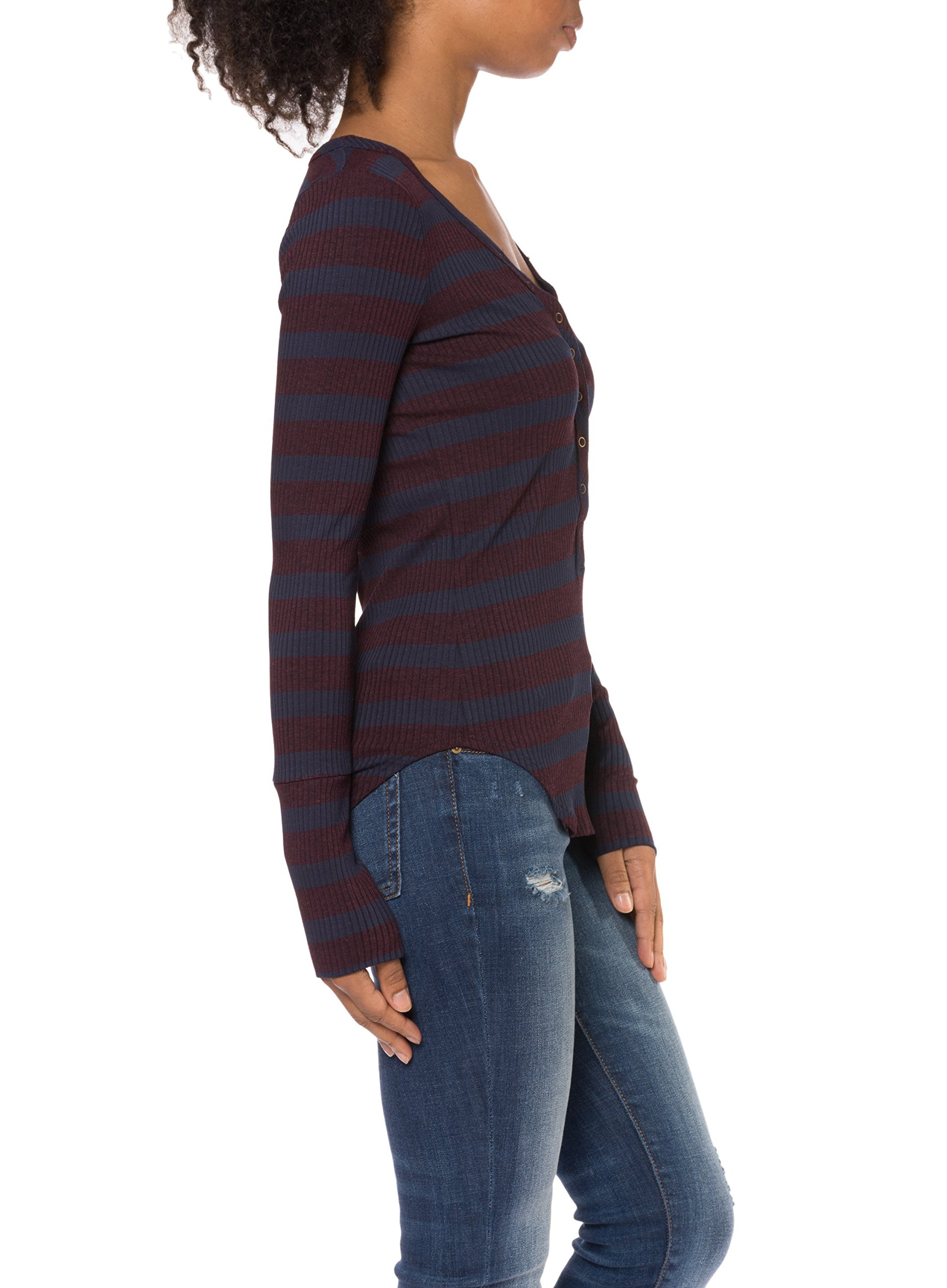 Alpine Stripe Henley (Style OZ2579, Aubergine) by Three Dots by Three Dots