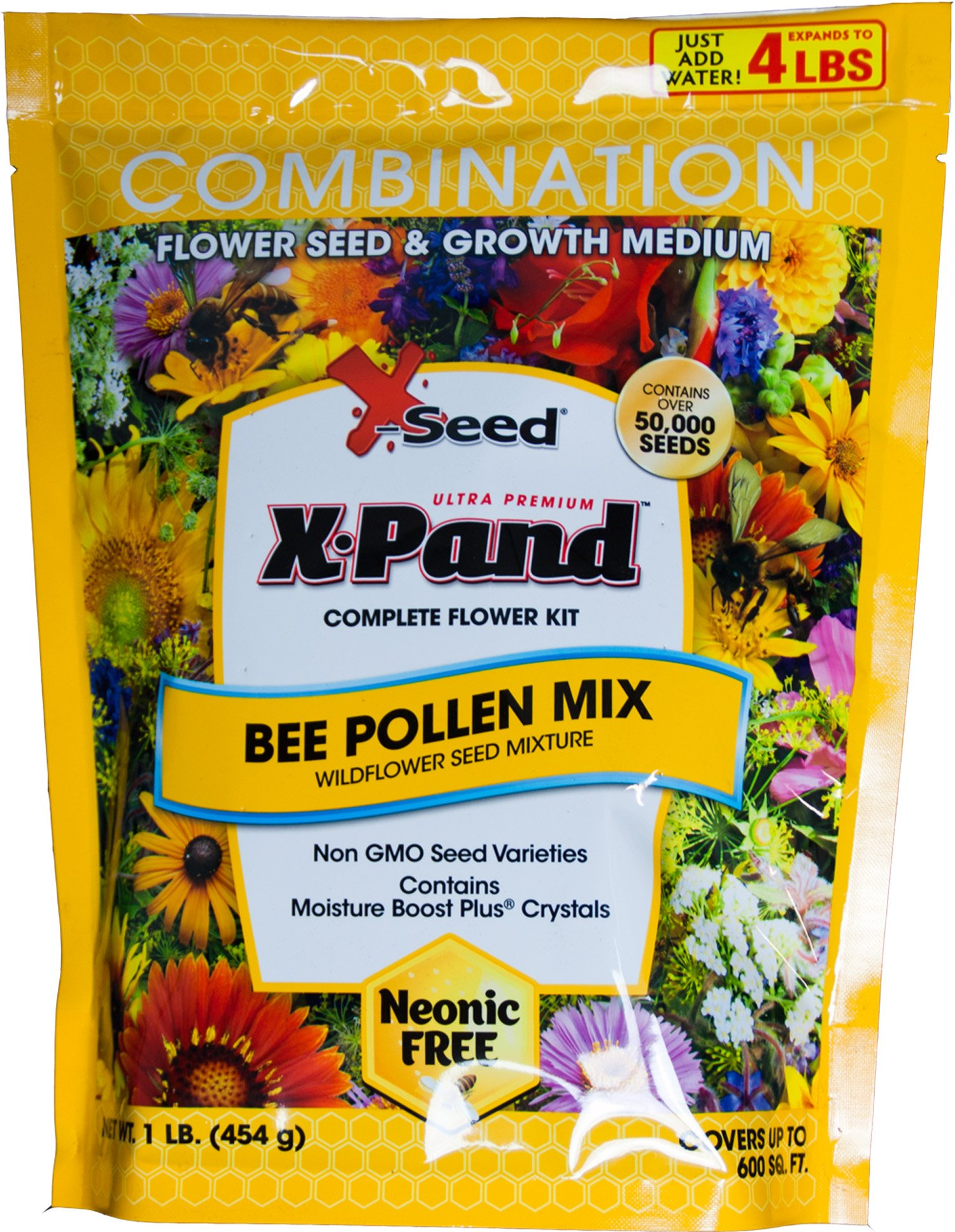 X-Seed 440AS0088UC Bee Pollen Mix Combination Wildflower Seed, 1 lb, Yellow by X-Seed