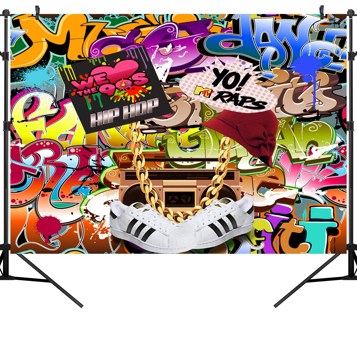 OUYIDA 9X6FT Seamless Hip Hop Graffiti Pictorial Cloth Photography Background Computer-Printed Vinyl Backdrop PCK06A by OUYIDA