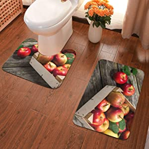 Box of Apples in On Wood Floor(1) Bath Mat 2 Piece Soft Pads Bath Mat + Water Absorption Contour