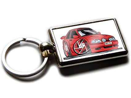 Koolart Cartoon Car Ford Escort RS Turbo Chrome Keyring Picture Both Sides (Red & Red