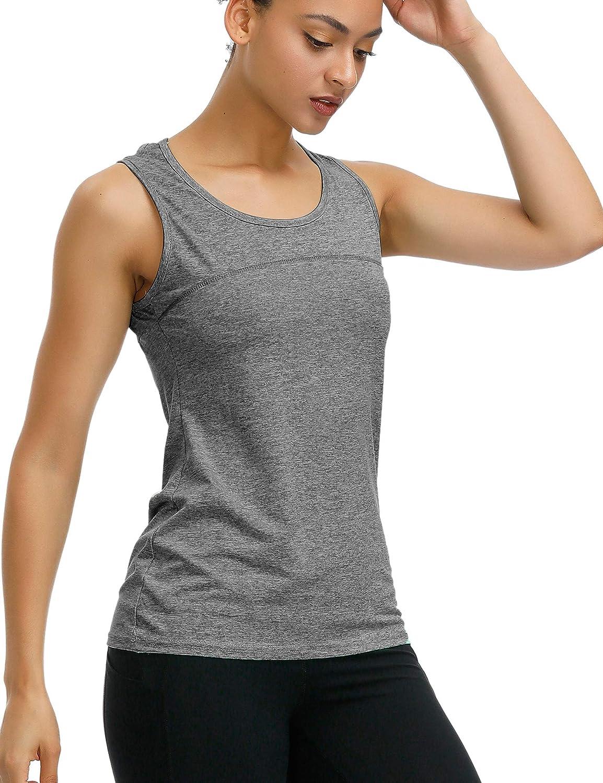 iWoo Damen Yoga Tops Active Wear Running Workouts T-Shirt Cross Back Sport Shirts Frauen Yoga Shirt