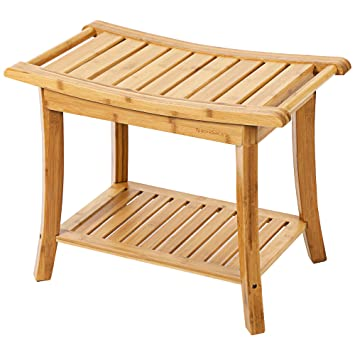 Amazon.com: SONGMICS Bamboo Spa Shower Bench Bathing Seat with ...
