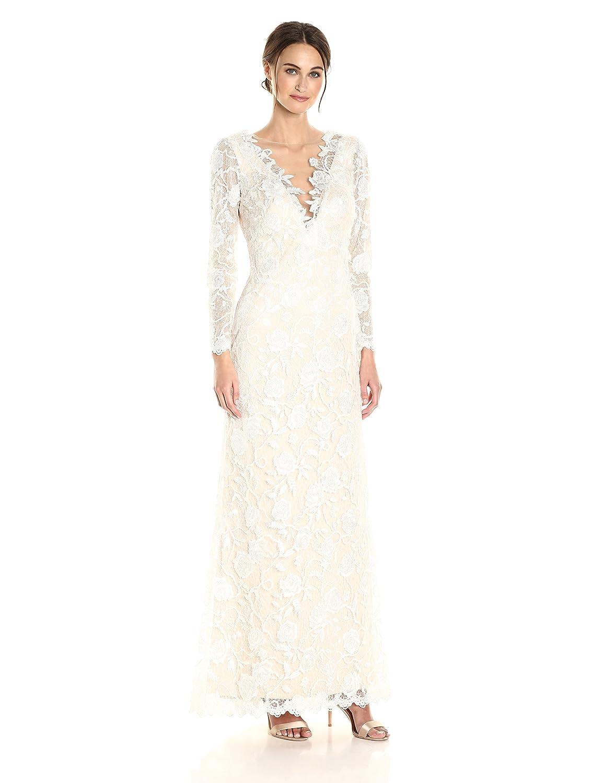 Tadashi Shoji Womens Long Sleeve Lace Bridal Gown At Amazon Womens