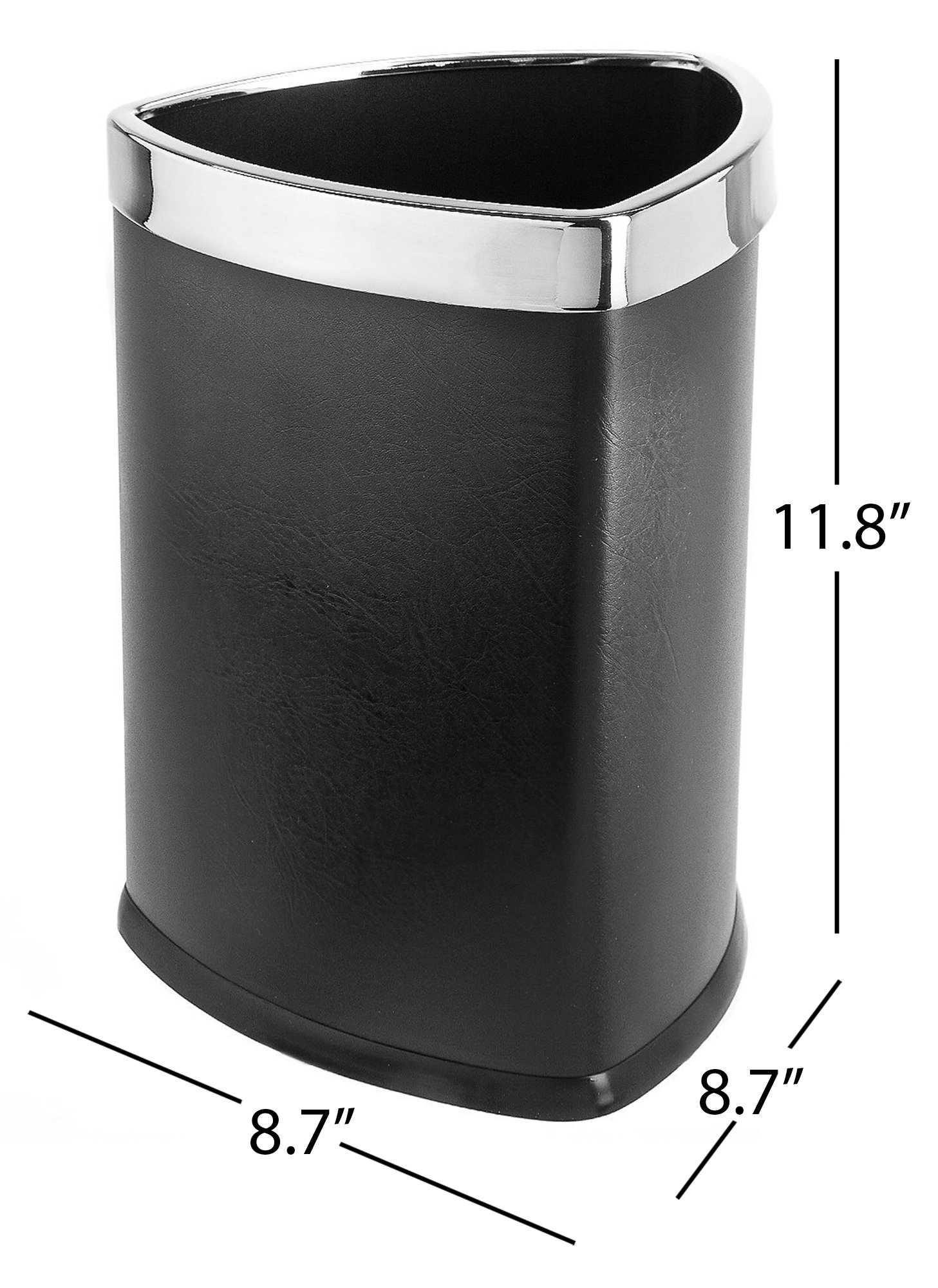 Bennett Magnificent Designed ''Triangle Shape'' Wastebasket, Small Office Open Top Leatherette Trash Can, (Black)