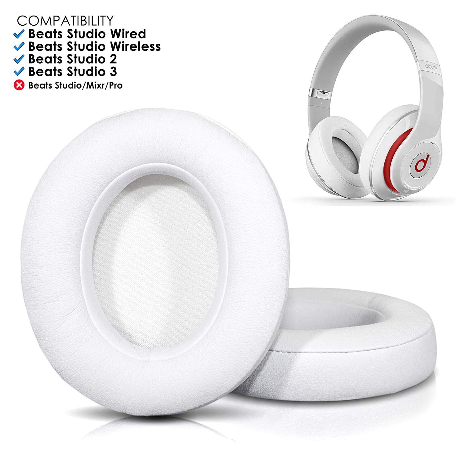 9380be36a61 Upgraded Beats Replacement Ear Pads by Wicked Cushions - Compatible with Studio  Wired B0500 / Wireless B0501 / Studio 2 and Studio 3 Over Ear Headphones ...
