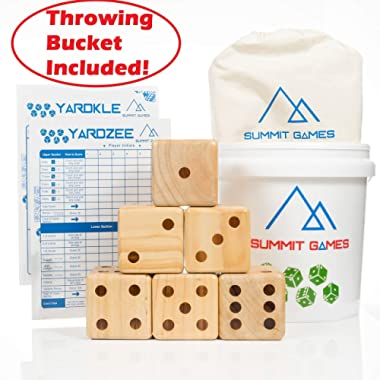Summit Games Giant Yard Dice Set - Includes 6 Wooden Dice (3.5 ), Throwing Bucket, 2 Scorecards and Cloth Carrying Bag - Fun Indoor and Outdoor Family Games