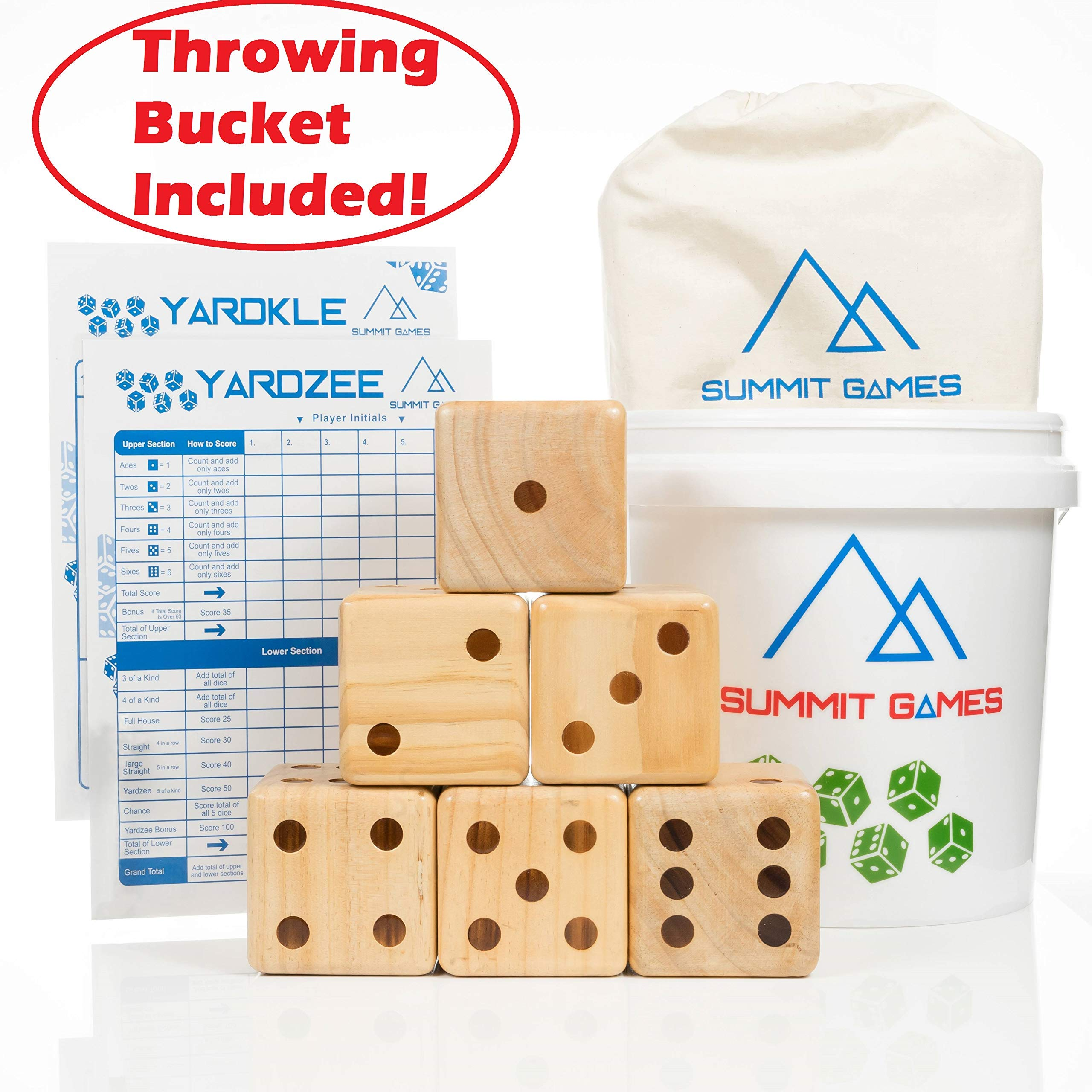 Summit Games Giant Yard Dice Set - Includes 6 Wooden Dice (3.5''), Throwing Bucket, 2 Scorecards and Cloth Carrying Bag - Fun Indoor and Outdoor Family Games