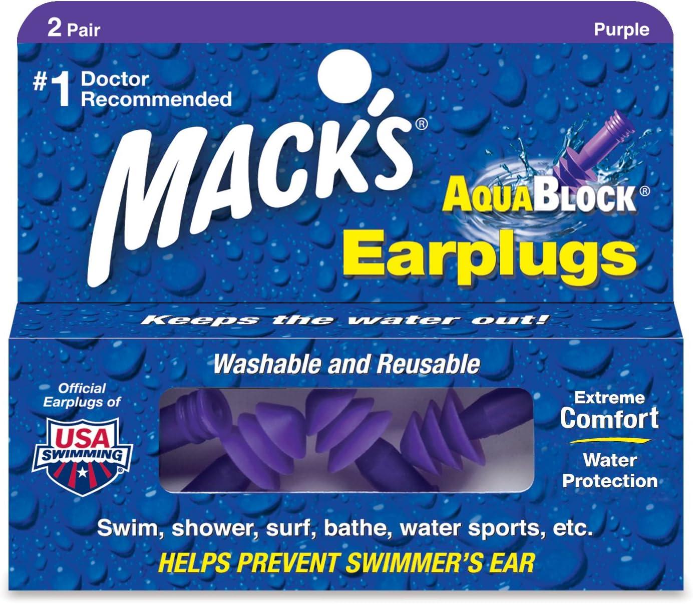 Mack/'s AquaBlock earplugs for swimming shower surf earplugs 2 pairs purple