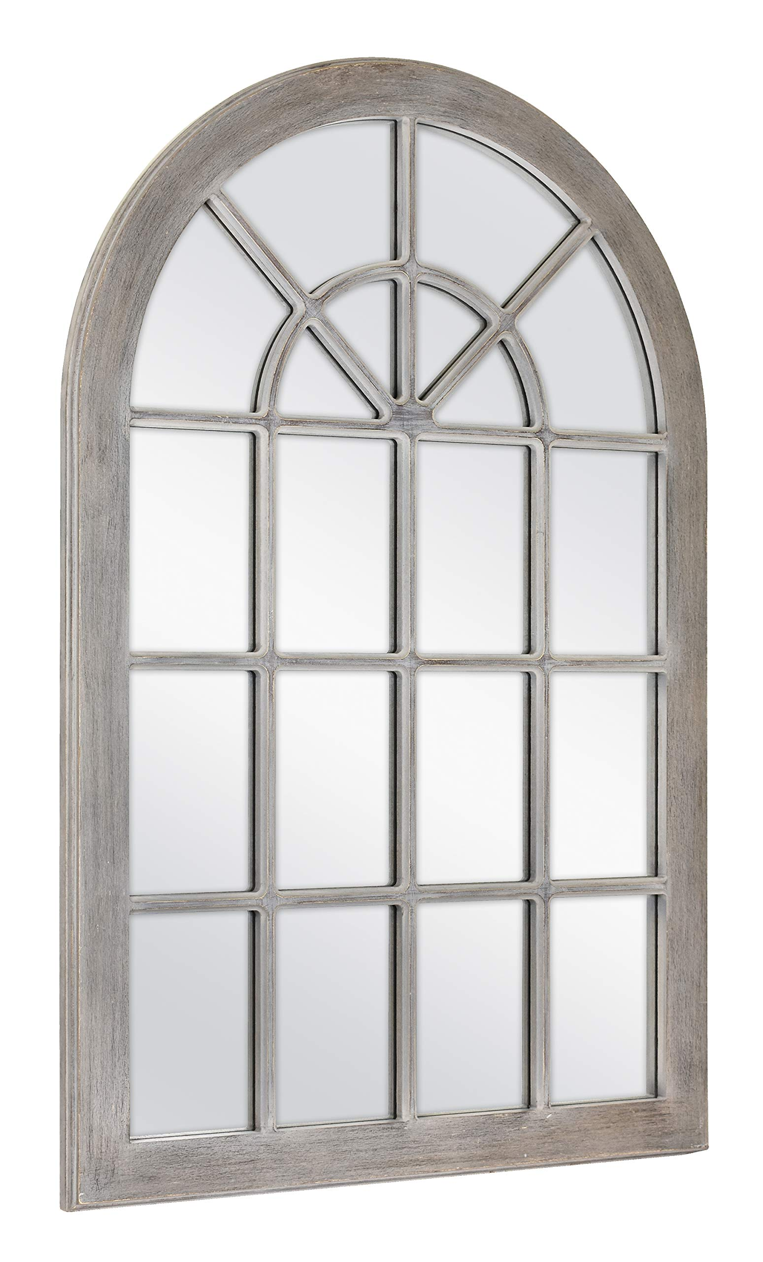 MCS 68874 Countryside Arched Windowpane Wall, Gray, 24x36 Inch Overall Size Mirror, by MCS (Image #2)