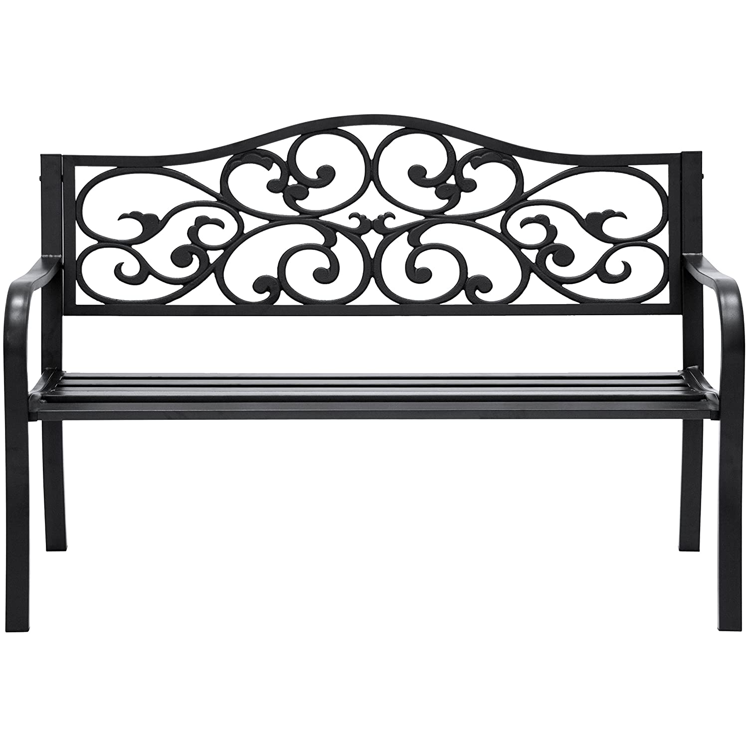 Best Choice Products 50-inch Classic Metal Garden Bench with Verdi Floral Scroll Design, Black
