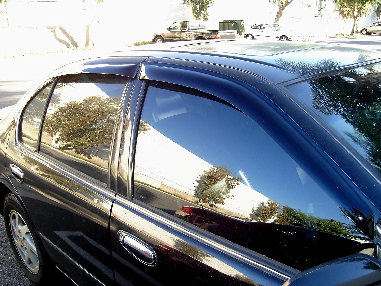 Tuningpros WD2-562 Outside Mount Window Visor Deflector Rain Guard Dark Smoke 4 Pcs Set Compatible With 2010-2014 Honda Insight