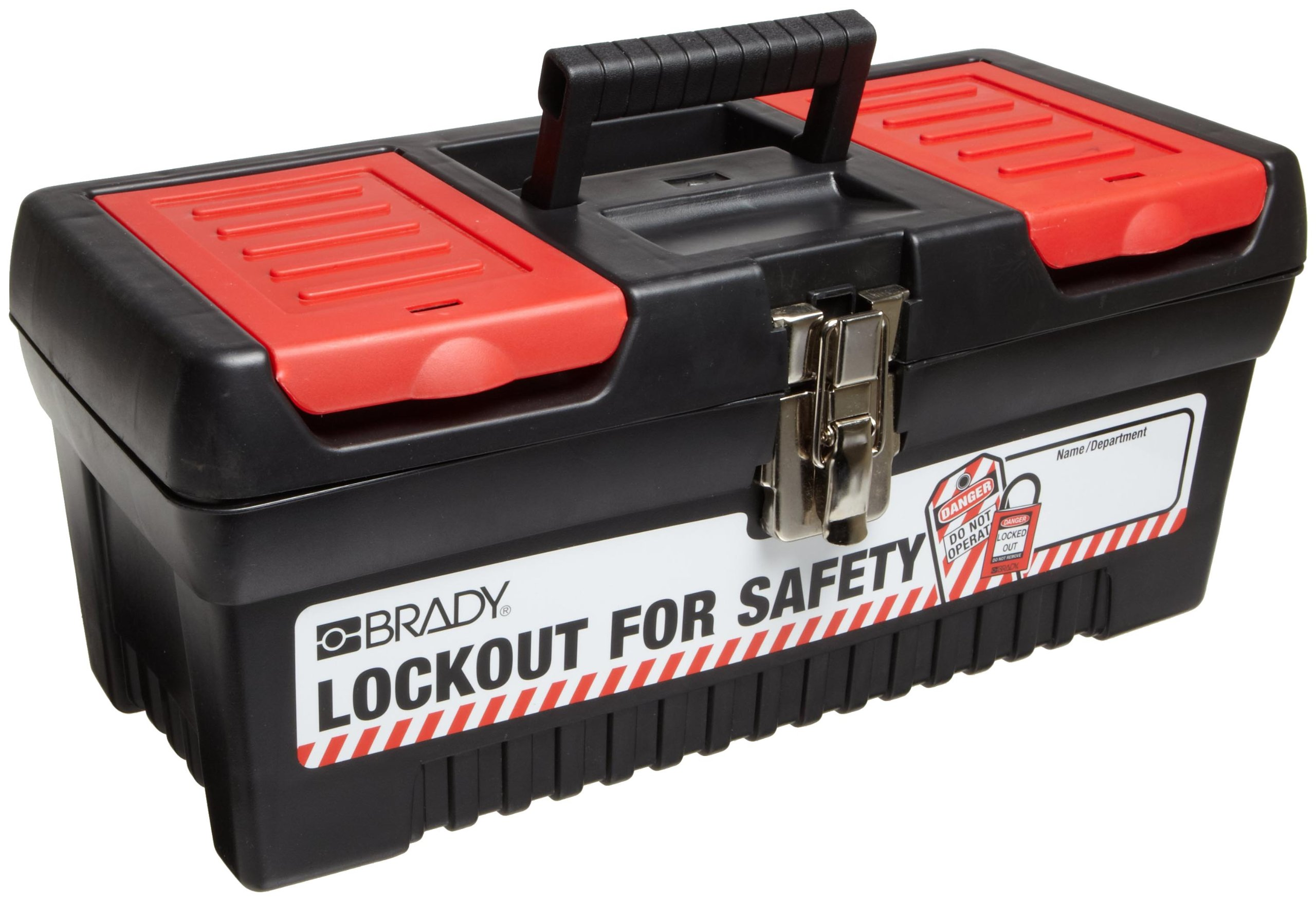 Brady Polypropylene Lockout Toolbox, Legend''Lockout For Safety'', Medium, 7.8'' Height, 16.2'' Width, 7.3'' Depth