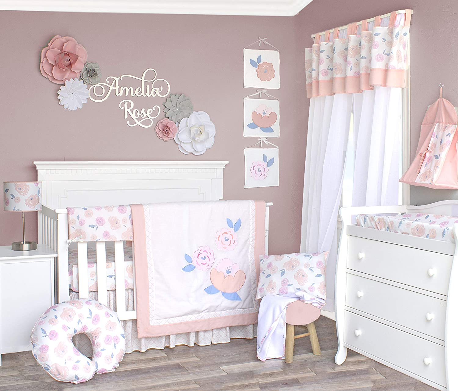 Pam Grace Creations Watercolor Rose Floral 6 Piece Crib Bedding Set, Blush Pink/ Coral/ Blue/ White