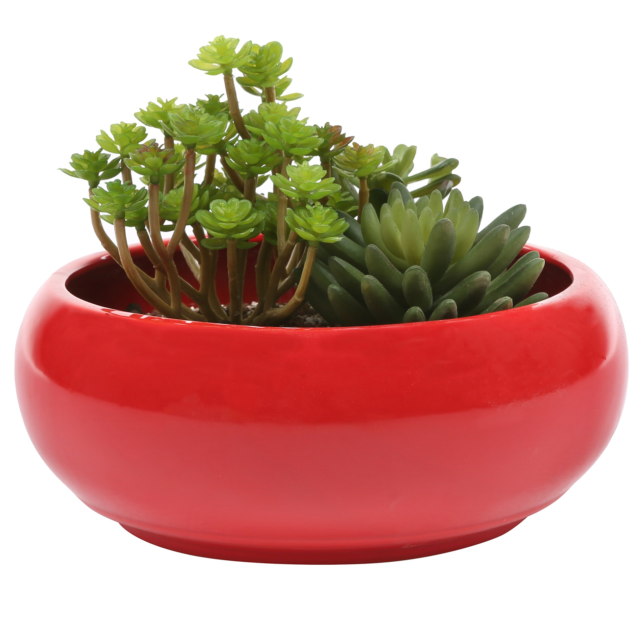 MyGift 8.75-Inch Round Ceramic Planter, Decorative Flower Plant Pot, Red