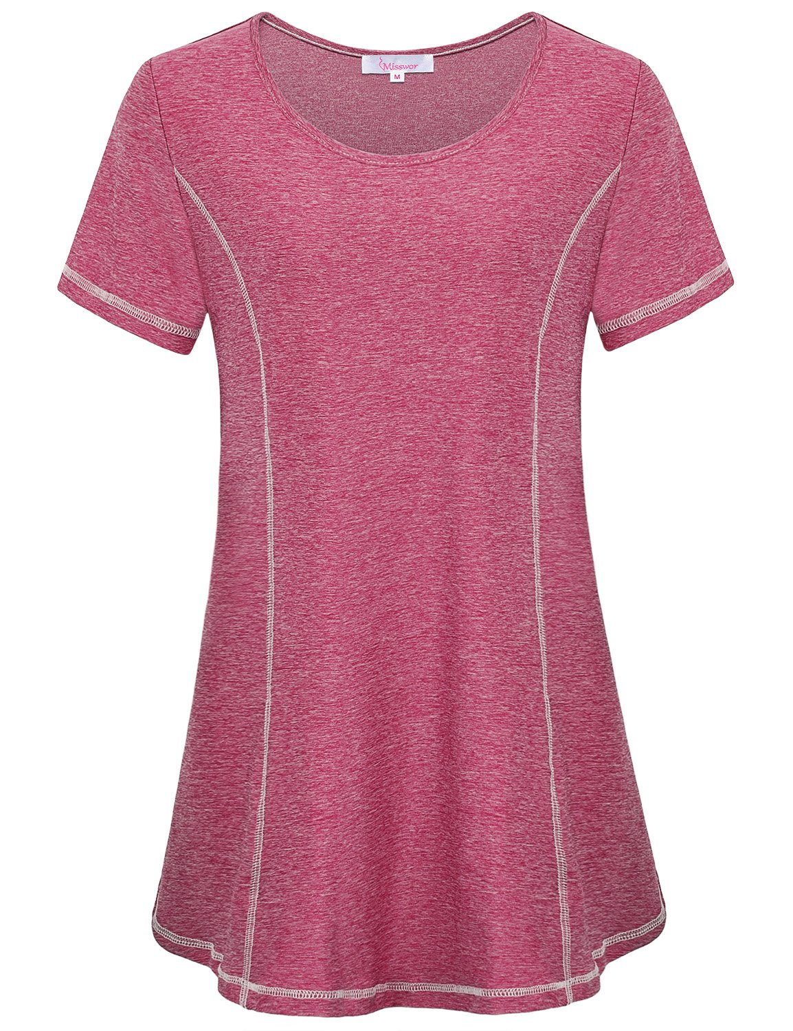 Misswor Active Shirt, Workout T-Shirt Tops Short Sleeve Round Neck Breathable Lightweight Blouse Top for Summer Red XL