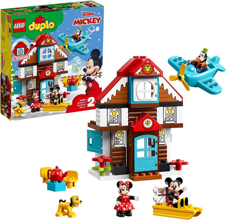 LEGO DUPLO Disney - Casa de Vacaciones de Mickey Nuevo juguete de construcción con los Personajes de Disney, incluye Minifigura de Minnie, el Pato Donald, Goofy y Pluto (10889)