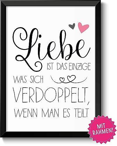 Liebe Verdoppelt Sich Bild Im Schwarzem Holz Rahmen Geschenk Geschenkidee Liebesbeweis Frau Mann Partner